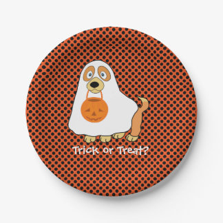 """Dog Trick or Treat  Paper Plates 7"""""""