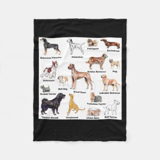 Dog Types Fleece Blanket