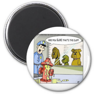 Dog Vs Hydrant Police Line Up Funny Gifts & Tees 6 Cm Round Magnet