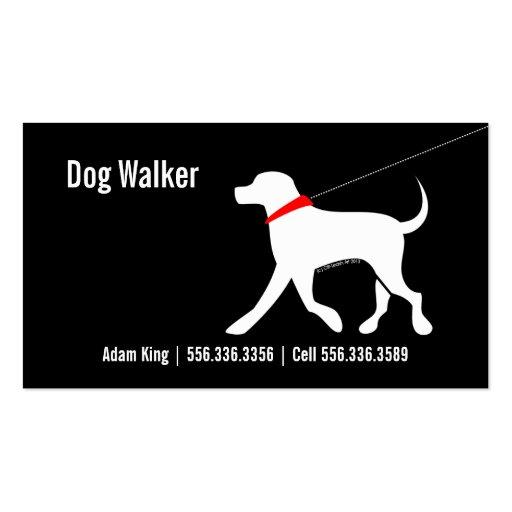 Dog Walker Pet Business Lab Modern Black Business Card Templates