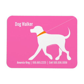 Dog Walker Pet Business Lab Modern Pink Rectangular Magnet