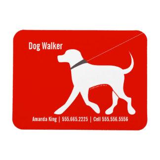 Dog Walker Pet Business Lab Modern Red Rectangle Magnets