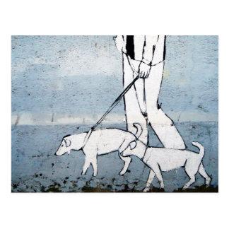 dog walker postcard