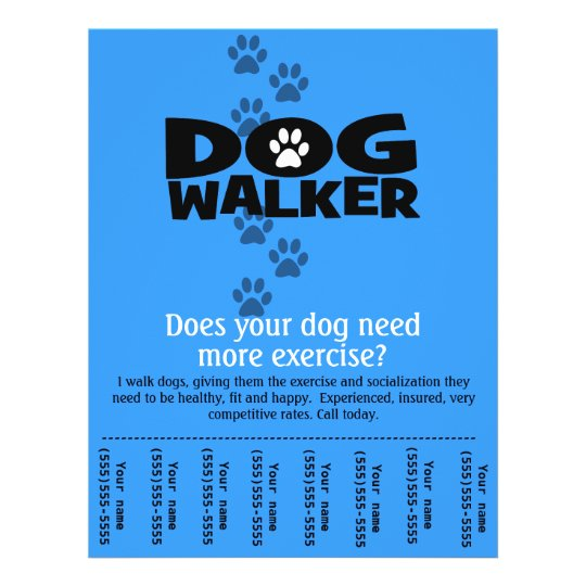 dog walker promotional tear sheet flyer template b