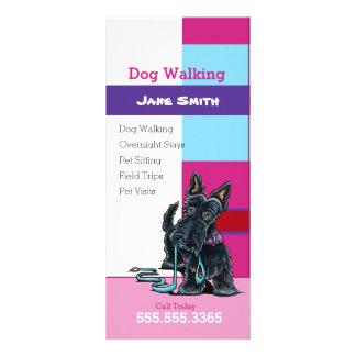 Dog Walker Scottie Plaid Pet Business Marketing Rack Card Design