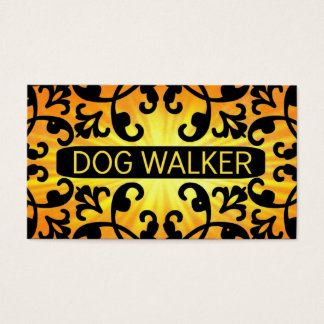 Dog Walker Sunshine Damask Business Card