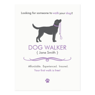 Dog Walker Walking Business Postcard Advertising