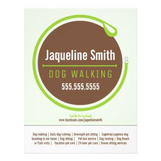Dog Walker Walking Leash Loop Green Promotional 21.5 Cm X 28 Cm Flyer