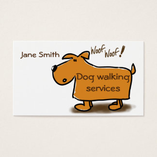 Dog walking business card cartoon dog