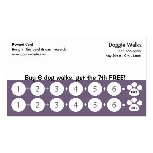 dog walking business card loyalty card zazzle. Black Bedroom Furniture Sets. Home Design Ideas