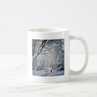 Dog Walking In A Winter Wonderland Coffee Mug