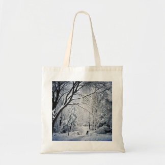 Dog Walking In A Winter Wonderland Tote Bag