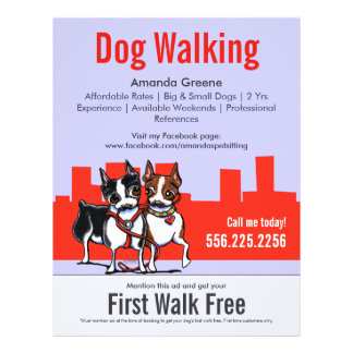 Dog Walking Walker Boston Terriers Coupon Ad 21.5 Cm X 28 Cm Flyer