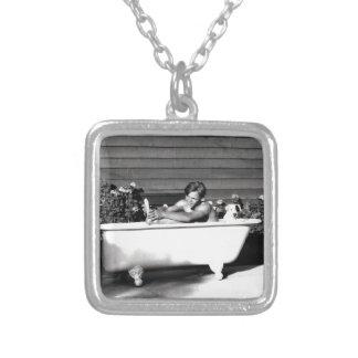 Dog Washes Boy Square Pendant Necklace