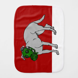 Dog Wearing A Canine Gas Mask Baby Burp Cloths