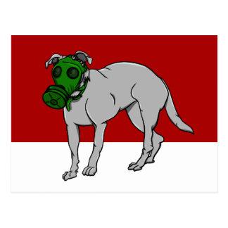 Dog Wearing A Canine Gas Mask Postcard