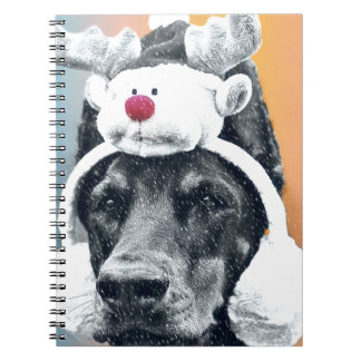 Dog wearing a  Reindeer Hat Notebook
