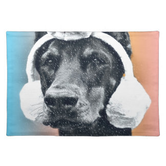 Dog wearing a  Reindeer Hat Placemat