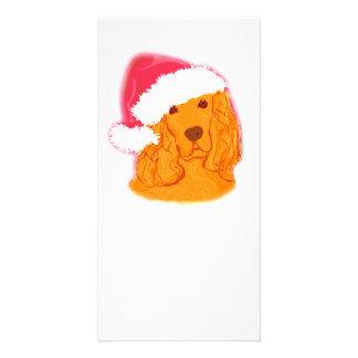 Dog Wearing Santa Hat  Photo Card