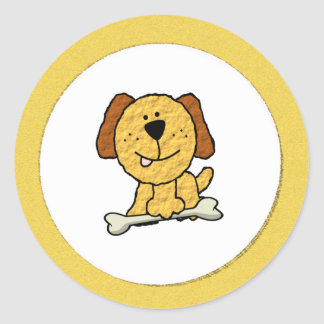Dog with a Bone Classic Round Sticker