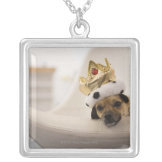 Dog with a crown silver plated necklace