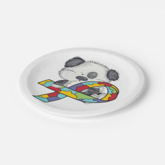 Dog With Autism Awareness Ribbon Paper Plate