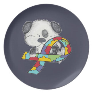 Dog With Autism Awareness Ribbon Plate