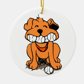 Dog with balls in the mouth ceramic ornament