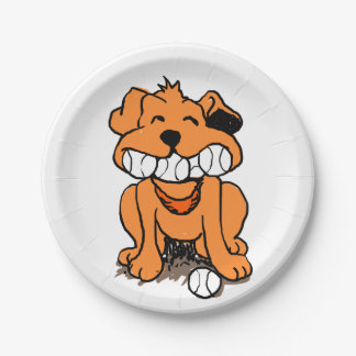 Dog with balls in the mouth paper plate