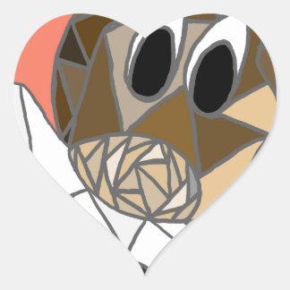dog with bone heart sticker