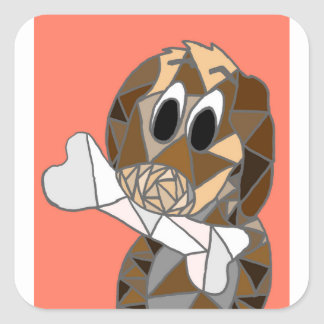 dog with bone square sticker