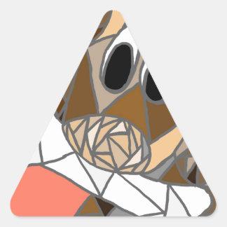 dog with bone triangle sticker