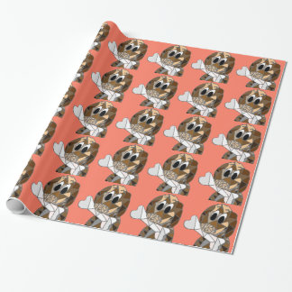 dog with bone wrapping paper