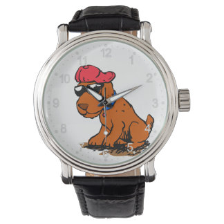 Dog with hat and glasses watch