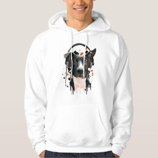 Dog with headphones. music lover hoodie