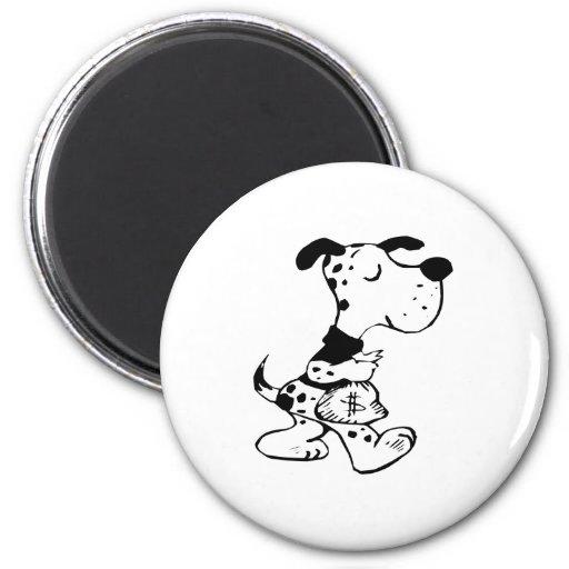 Dog with Money Bag Fridge Magnets