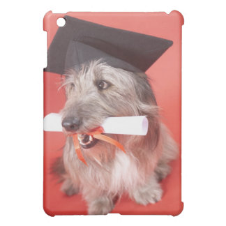 Dog with mortarboard and diploma cover for the iPad mini