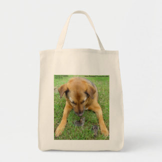 Dog with Rabbits tote bags