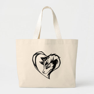Dog/Wolf in Tribal Heart Design Large Tote Bag