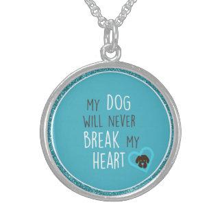Dog Won't Break My Heart Sterling Round Necklace