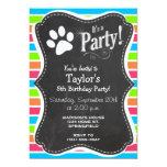 Dog, Woof; Neon Orange Pink Blue Green Stripes 13 Cm X 18 Cm Invitation Card