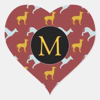 Dog Year 2018 Zodiac Birthday Monogram heart S Heart Sticker