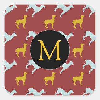 Dog Year 2018 Zodiac Birthday Monogram Square S Square Sticker