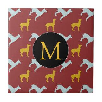 Dog Year 2018 Zodiac Birthday Monogram Tile
