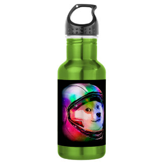 Doge astronaut-colorful dog - doge-shibe-doge dog 532 ml water bottle