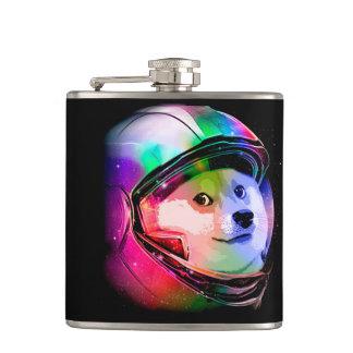 Doge astronaut-colorful dog - doge-shibe-doge dog hip flask