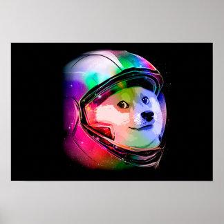 Doge astronaut-colorful dog - doge-shibe-doge dog poster