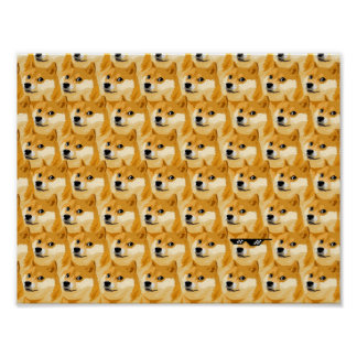 Doge cartoon - doge texture - shibe - doge poster