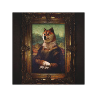 Doge Mona Lisa Fine Art Shibe Meme Painting Canvas Print