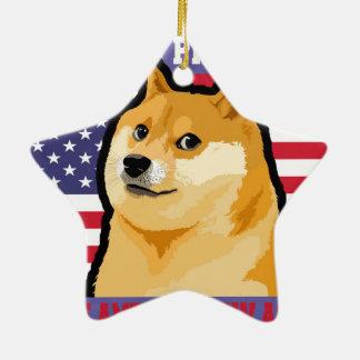 Doge president - doge-shibe-doge dog-cute doge ceramic ornament